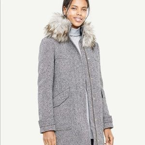 NWT Ann Taylor fur hood tweed coat